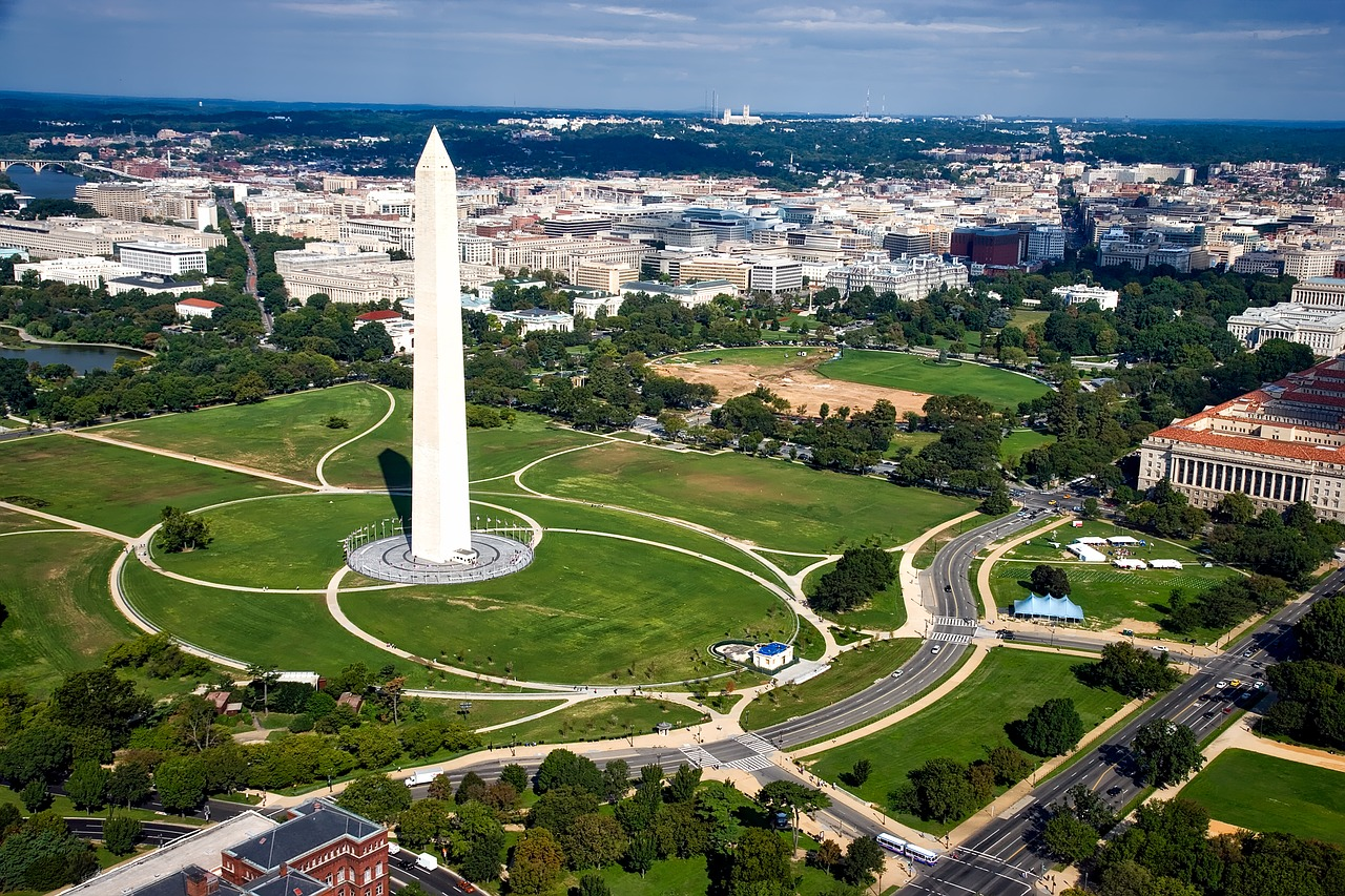 Washington Monument as seen from the air.