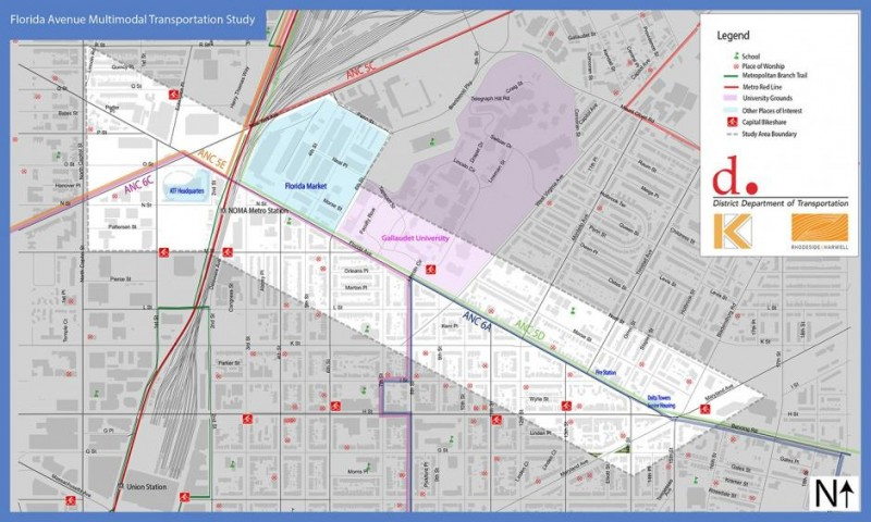 Map of road safety improvements on Florida Ave NE